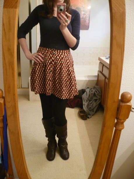 A girl can still wear a skirt in the winter